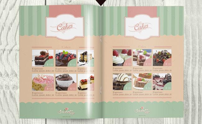 Vintage Cake Menu Brochure