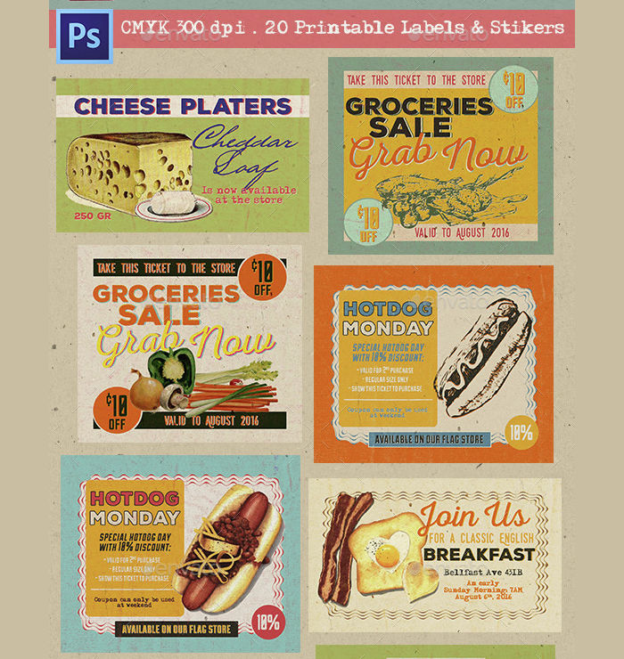 Vintage Food Labels, Coupons