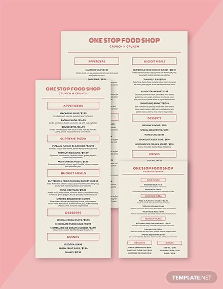vintage food and drinks menu template