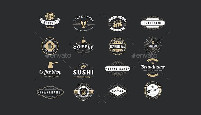 vintage labels badges