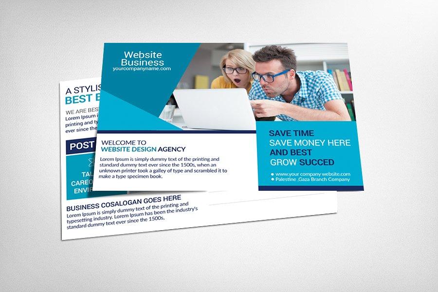 website design business postcard