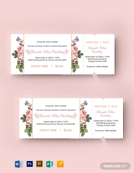 wedding event ticket template