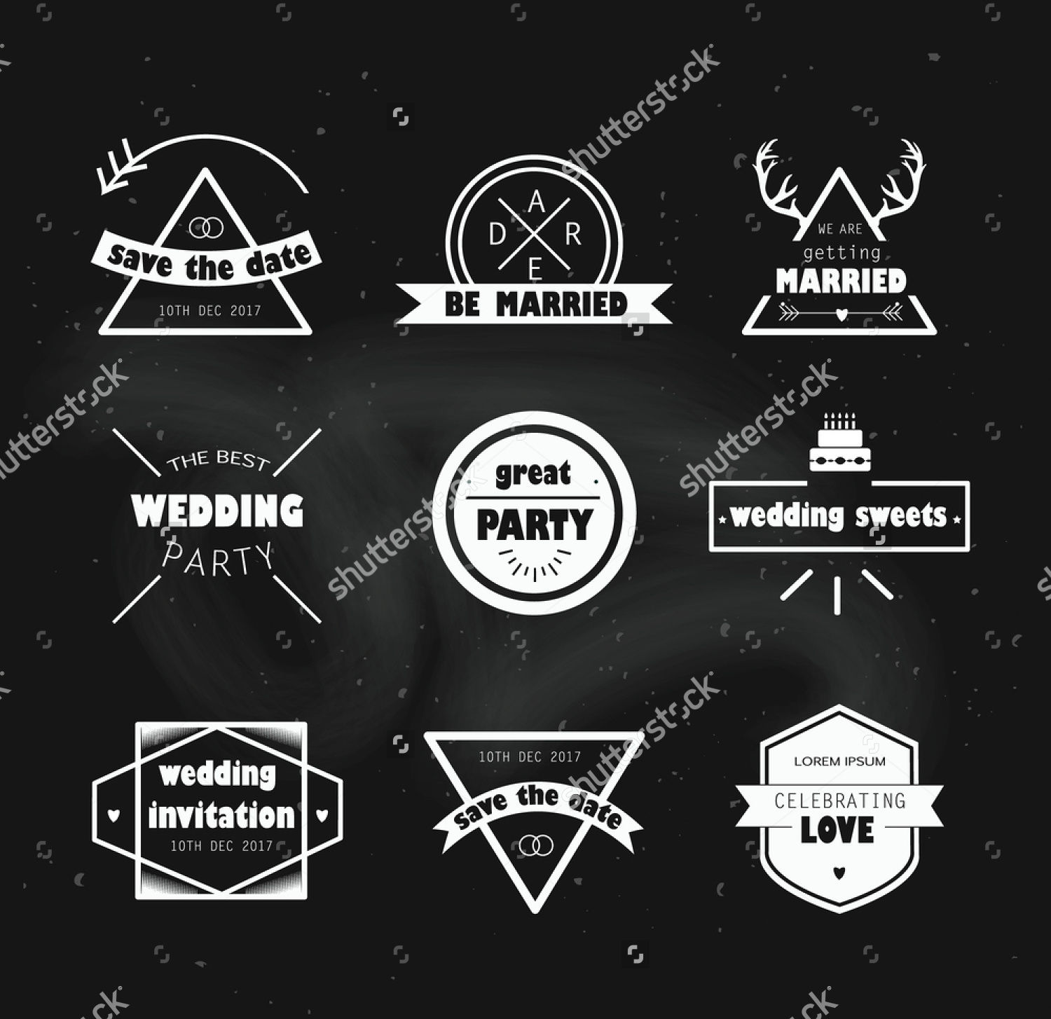wedding icons labels