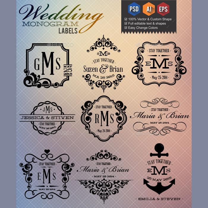 wedding monogram labels