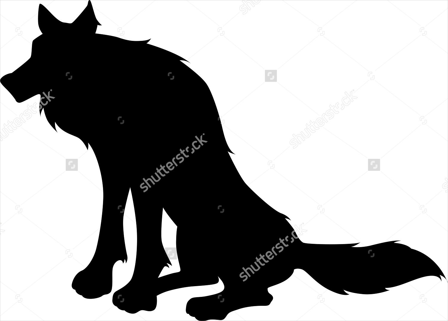 Wolf Sitting Silhouette
