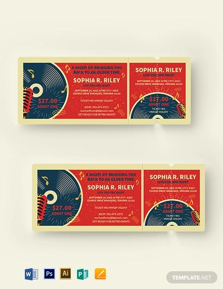 retro concert ticket