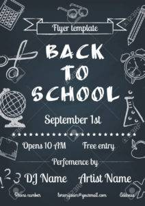 30686451 vector illustration of back to school blue chalk board flyer in vintage style stock vector 212x300