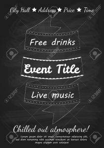 41256067 illustration of vintage event flyer design template with blackboard and chalk imitation stock vector 211x300