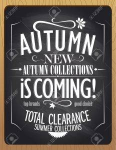44586052 new autumn collections is coming blackboard chalk vector illustration stock vector 232x300