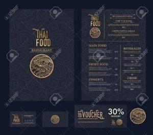 44887974 vector thai food restaurant menu template stock vector 300x264