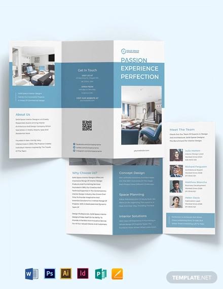 architect interior tri fold brochure template