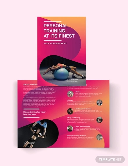 fitness trainer bi fold brochure template
