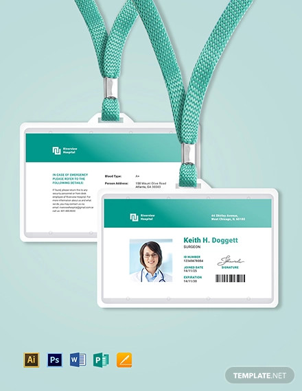hospital id card template