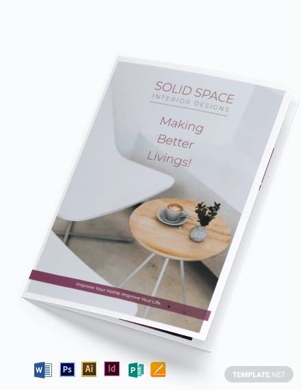 interior decor bi fold brochure template