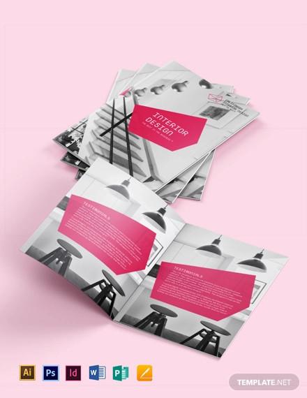 interior designer bi fold brochure template