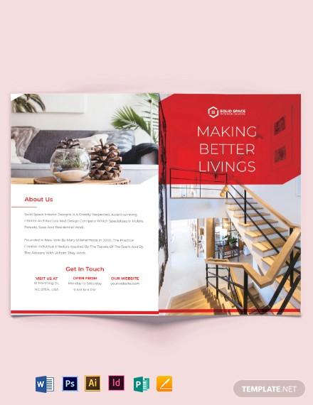 interior studio bi fold brochure template