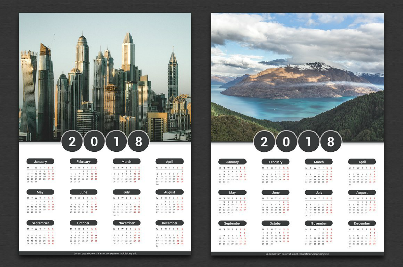 10 Printable 2018 Wall Desk Pocket Calendar Designs