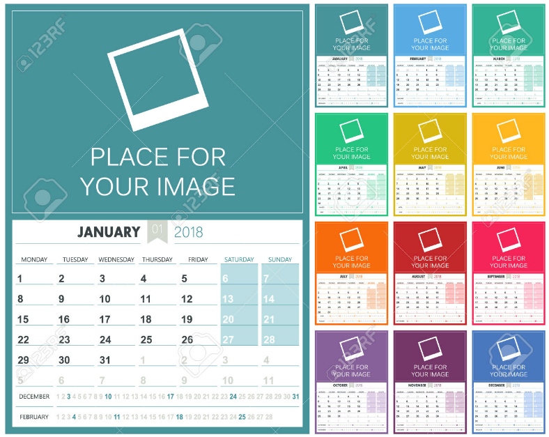 10+ Printable 2018 Wall, Desk, Pocket Calendar Designs | Design ...