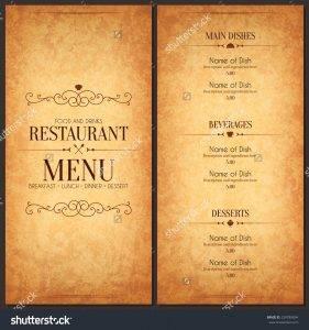 stock vector restaurant menu design vector menu brochure template for cafe coffee house restaurant bar food 229789894 281x300