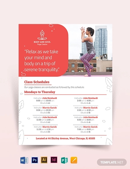 yoga instructor flyer