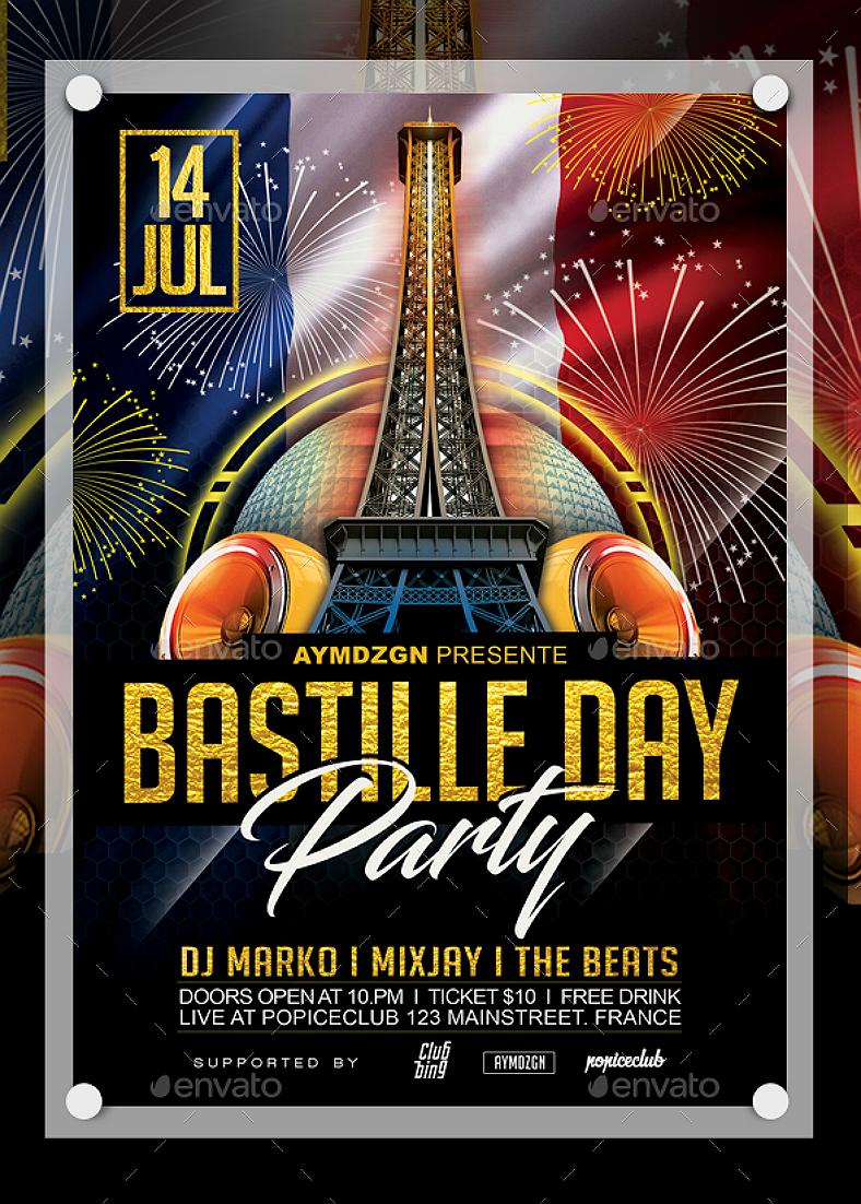 14 bastille day card flyer and poster designs  design