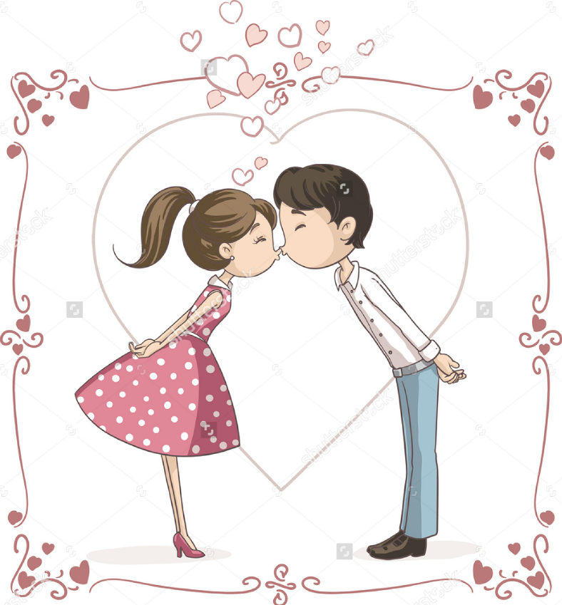 kissing illustration