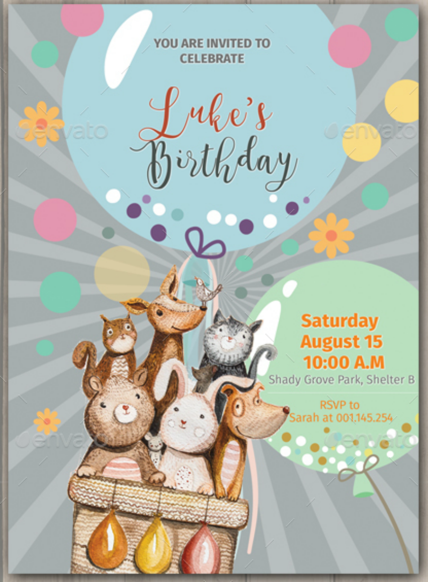 Animals Birthday Invitation Card