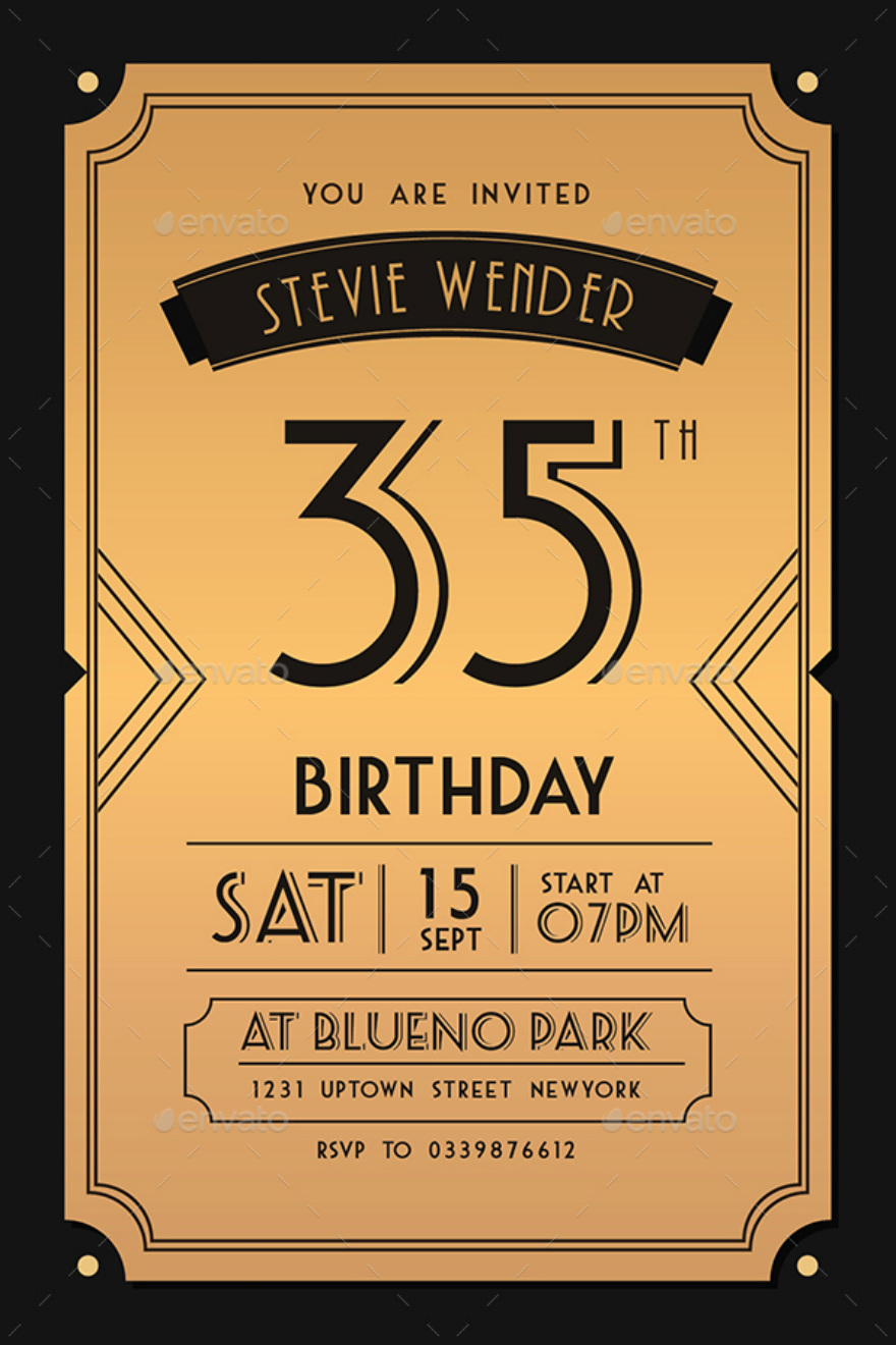 Art Deco Birthday Invitation