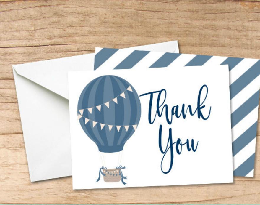 balloon printable thank you card