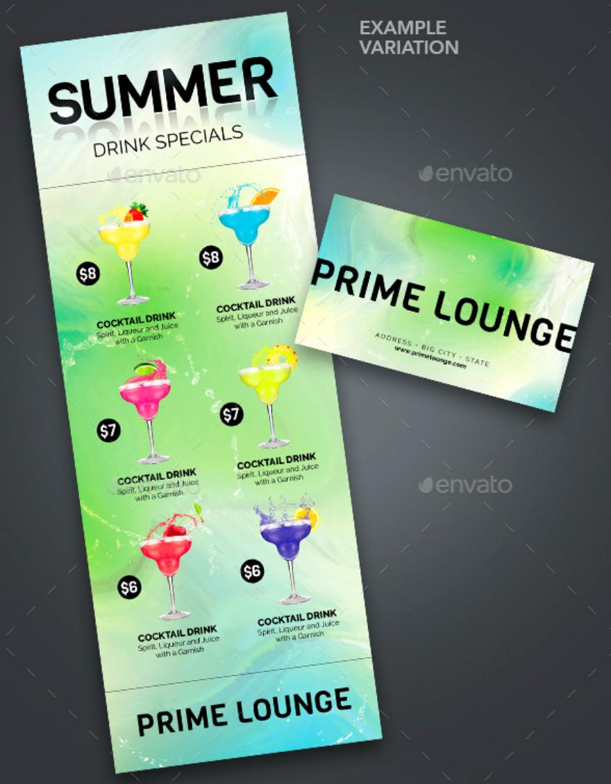 beverages printable menu card