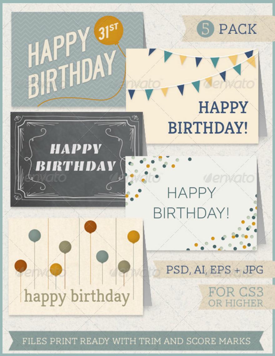 Birthday Greeting Card Pack Psd