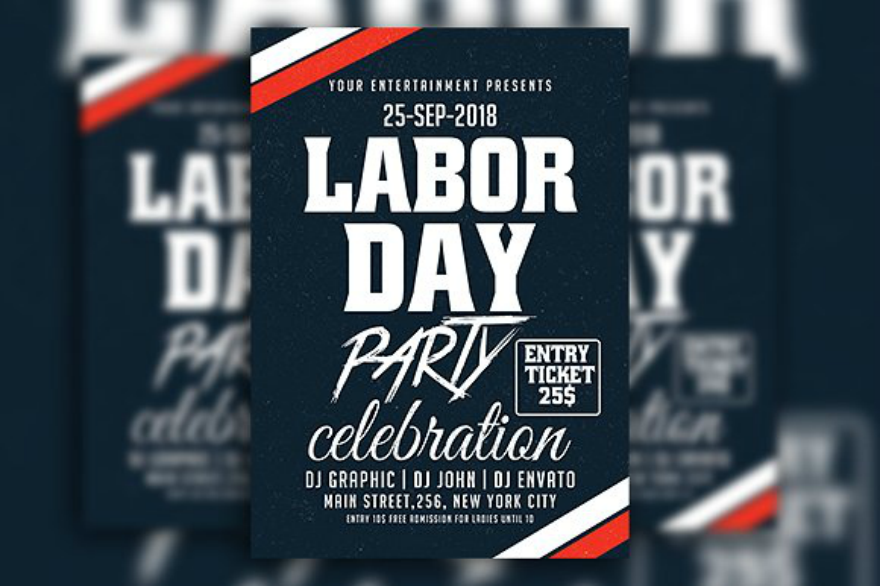 blue labor day party flyer
