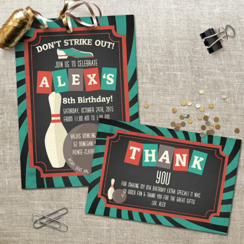 Bowling Birthday Invitation Card Design