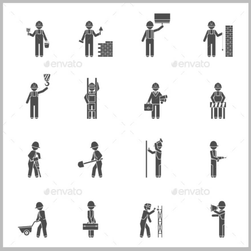 builders labor day silhouette set