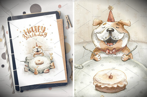 Bulldog Birthday Greeting Card