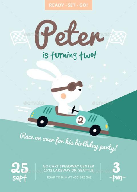 Bunny Race Invitation Card