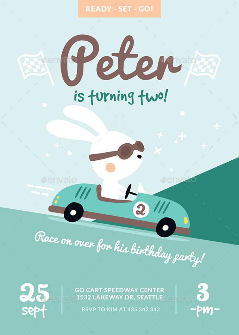 Bunny Race Invitation Card