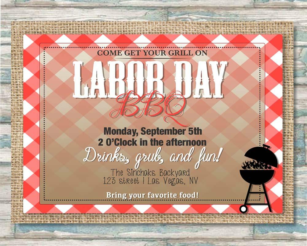 burlap labor day backyard bbq invitation
