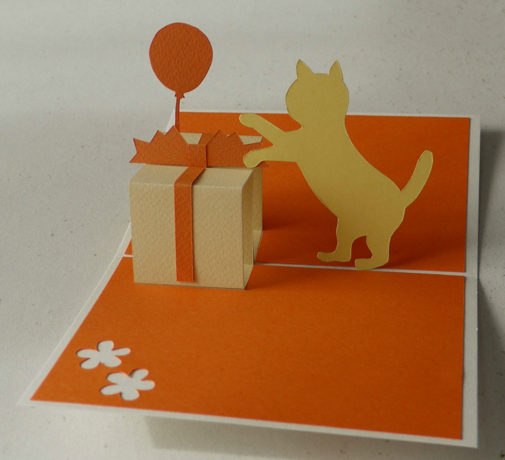 Cat and Giftbox Pop Up Greeting Card