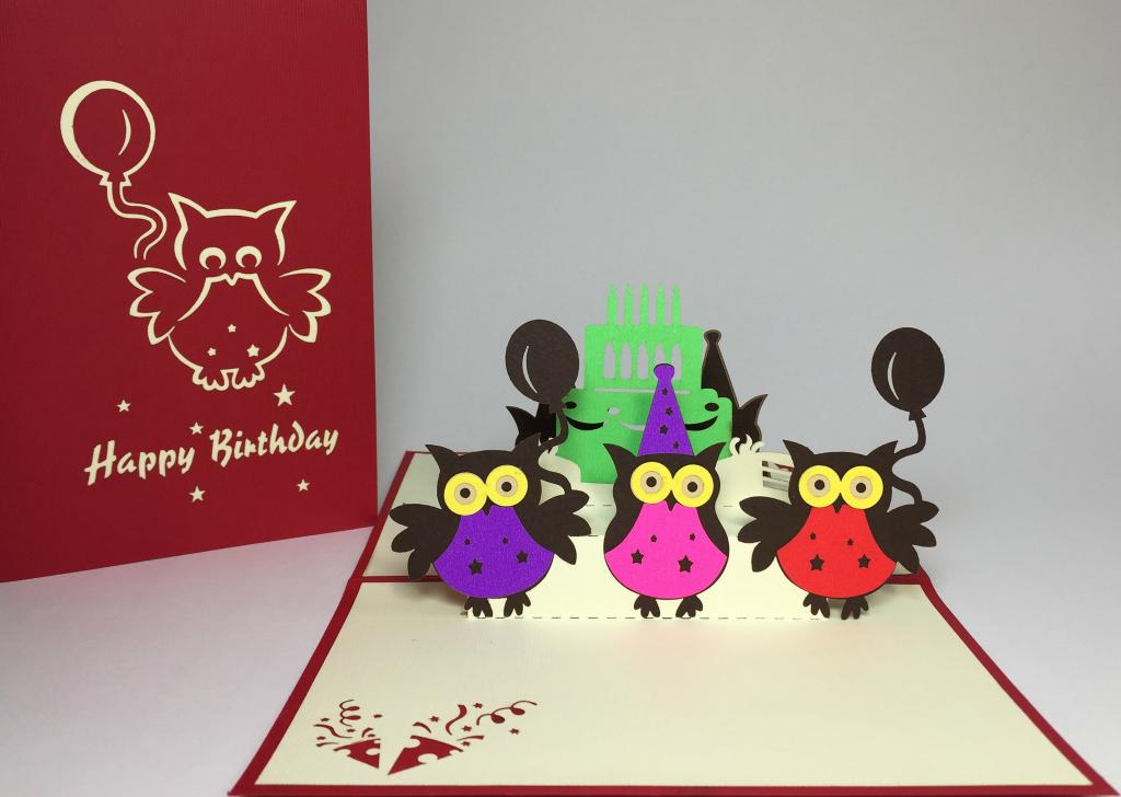 colorful owl birthday cake pop up card 1024x728