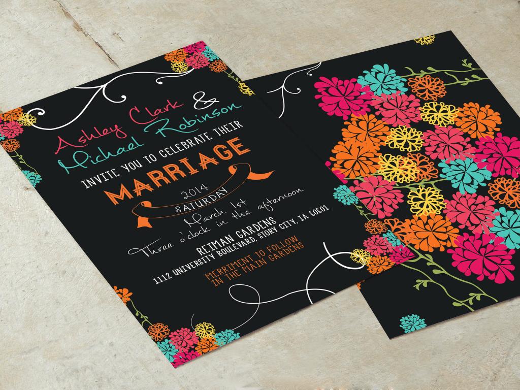 colorful wedding invitation printable card 1024x768