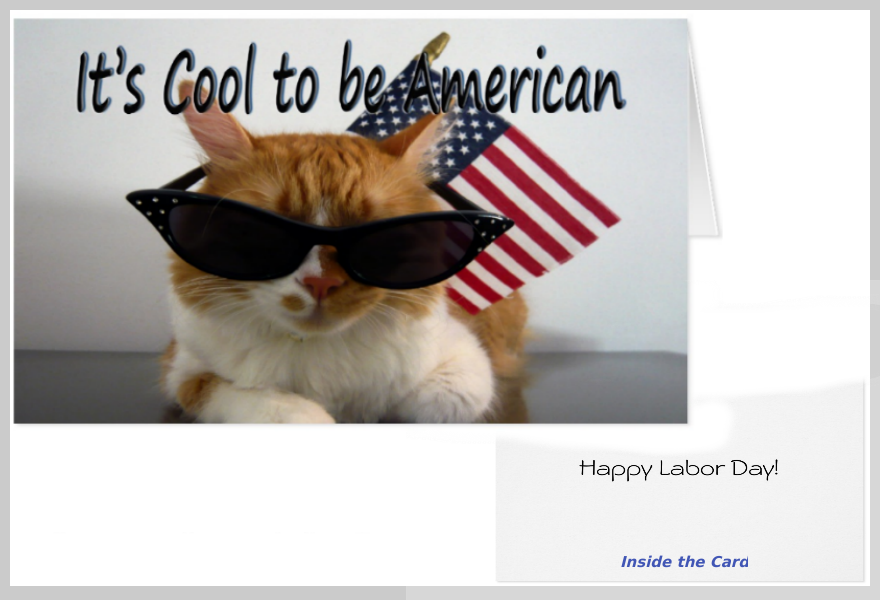 Cool Cat Labor Day Greeting Card