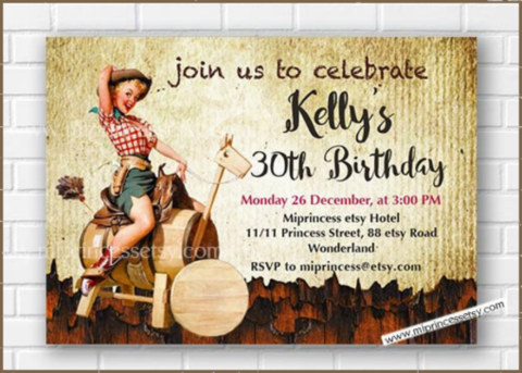 Cowgirl Birthday Invitation Card Design