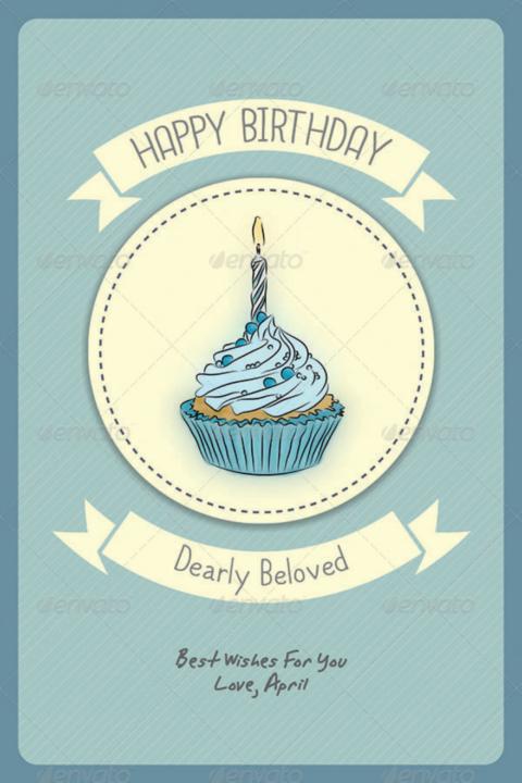Cupcakes Birthday Card Psd