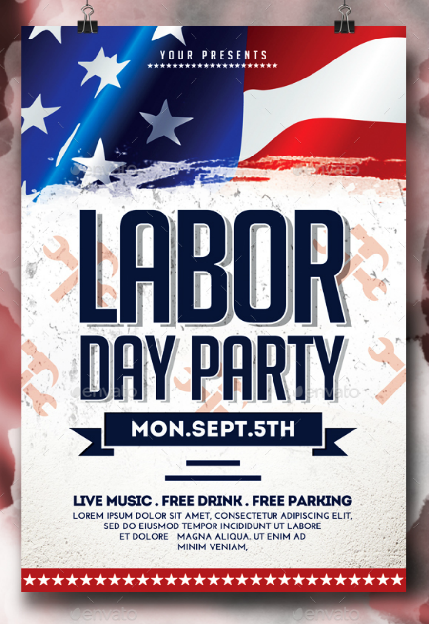flag labor day party flyer