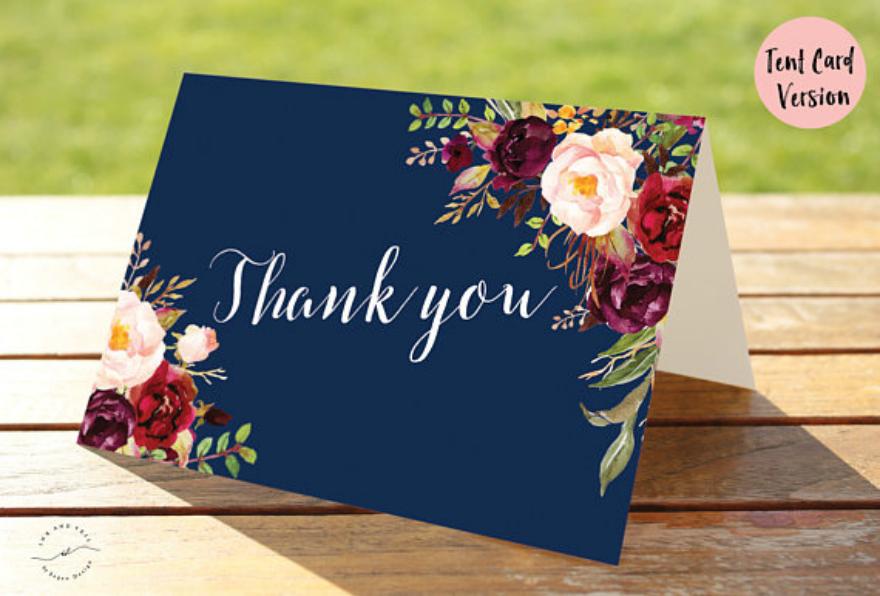 floral printable thank you card