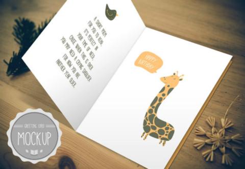 Giraffe Birthday Card Template Psd