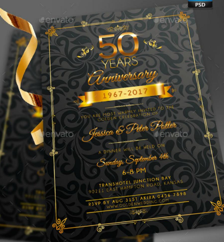 golden anniversary invitation card