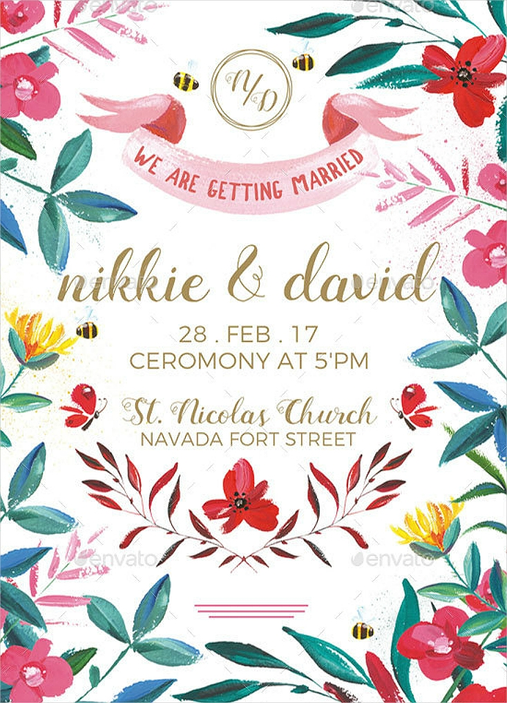 Hand-Painted Floral Wedding Invitation