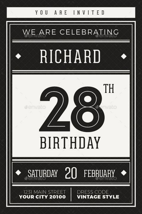 Hipster Birthday Invitation Card